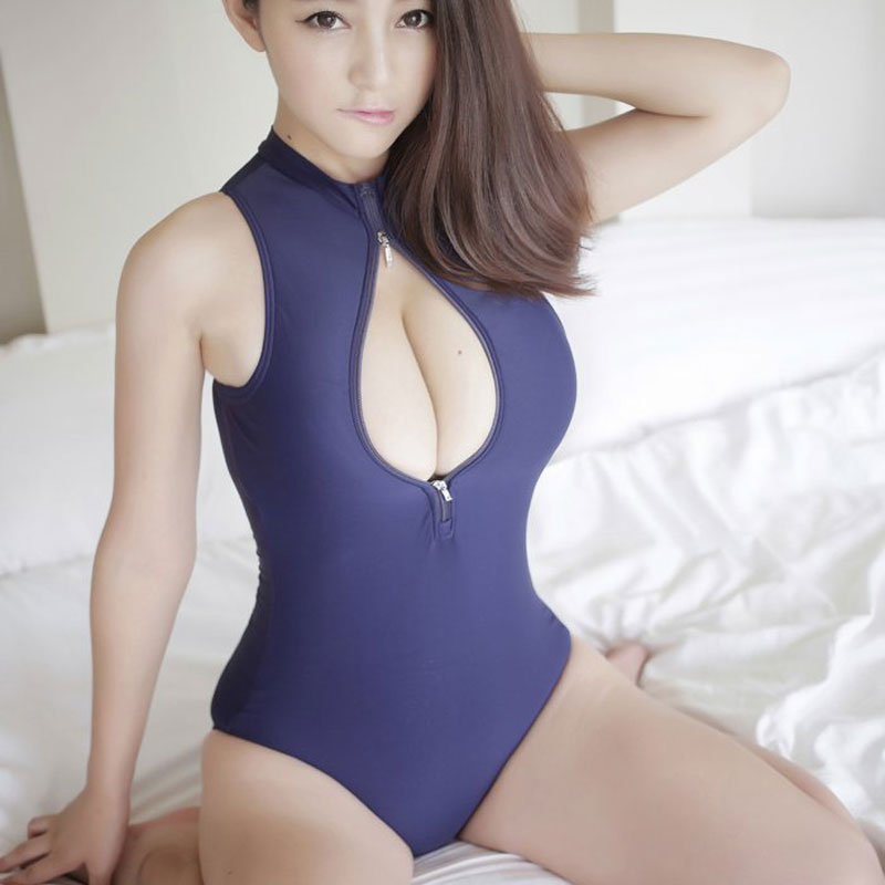 Hot Sexy Japanese Two Way Zipper Open Bust Sexy Swimwear Leotard High Cut Bodysuit Thong Shaping Dance Swimsuit Wear FX1016(China (Mainland))