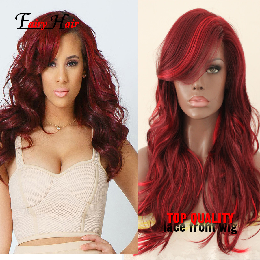 Black Ombre burgundy 1B/99J# body wave heat resistant synthetic lace front wig with baby hair natural hairline for black women<br><br>Aliexpress
