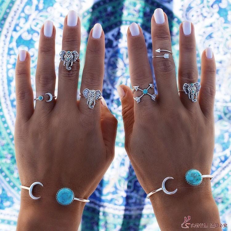 Bohemian Gypsy Vintage Turquoise Arrow Moon Rings Women Beach Unique Carving Tibetan Silver Cuff Bangles Bracelets Jewelry - SuperJewelry store