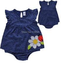 NEW Fashion baby girl ladybug cow dots blue romper spring summer jumpsuits (6M-9M-12M-18M)(China (Mainland))