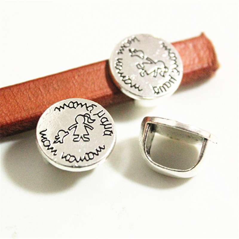 Engraved Mom And Child Tube Slider for 10x6mm Licorice Leather,2pcs, Jewelry Findings, Free Shipping(China (Mainland))