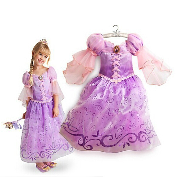 2015 New Children Kids Cosplay Dresses Rapunzel Costume Princess Wear Perform Clothes HOT Sale free shipping(China (Mainland))