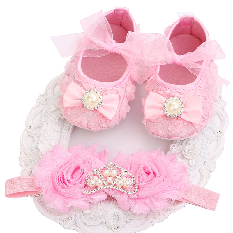 2016 New Girl Infant Tiara Baby Shoes White First Walkers;Newborn Baby Girl Shoes;Toddler Shoes With Pearl Boots Headbands Sets(China (Mainland))