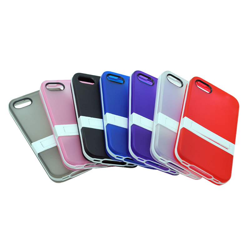 Newest 2 in 1 Shockproof Cell phone Case for Apple iphone 5C Phone Hard Back Cover with Stand & Round Hollow logo Window YC1327(China (Mainland))
