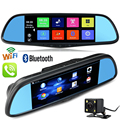 7 inch Android Mirror GPS Navigation DVR WiFi Bluetooth Phone Call Rear View Dual Camera Car