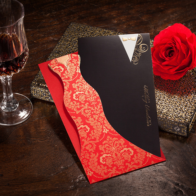 red and black wedding invitation cards - new wedding, Wedding invitations