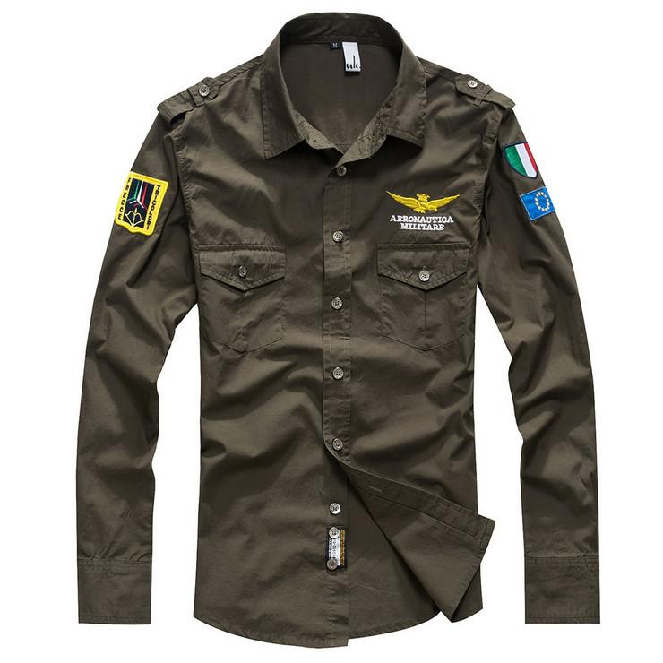 HOT!spring 2014 fashion man shirt shirts Military long sleeve men clothing army cotton camisa social brand casual XXXL - FORHISIS MEN FASHION STORE store