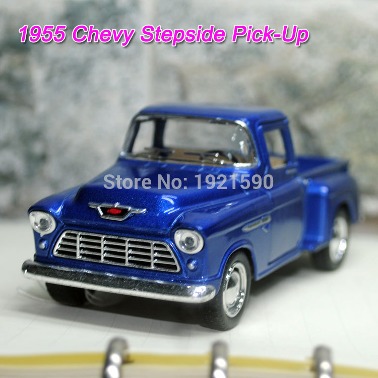 Brand New KINGSMART 1/32 Scale USA 1955 Chevy Stepside Pick-Up Diecast Metal Pull Back Car Model Toy For Gift/Collection/Kids(China (Mainland))