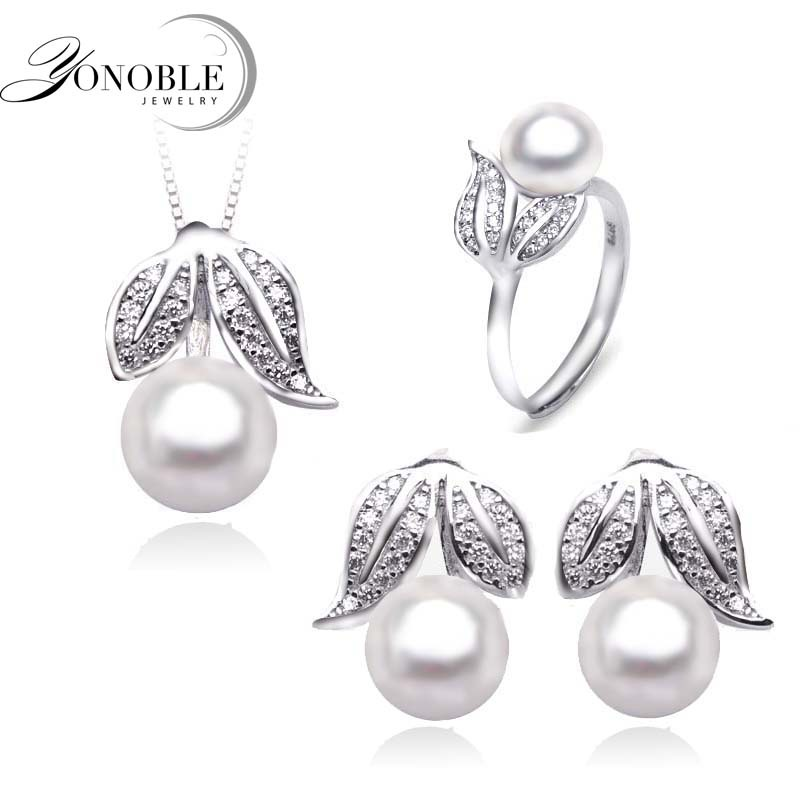 Natural pearl jewelry women Wedding jewelry sets silver,beautiful real pearl jewelry sets 925 for girlfriend birthday gift white(China (Mainland))