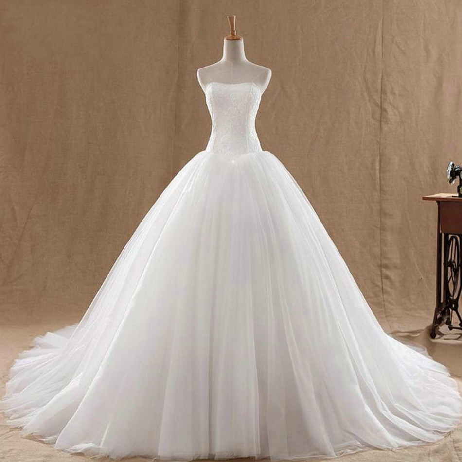 Real photo vestidos de novia wedding gown elegant women for Very puffy wedding dresses