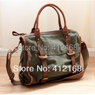 2015 Time-limited Top Silt Pocket Medium(30-50cm) Handbag Bag Men's Trend Handbag Messenger Crazy Horse Leather Canvas Casual(China (Mainland))