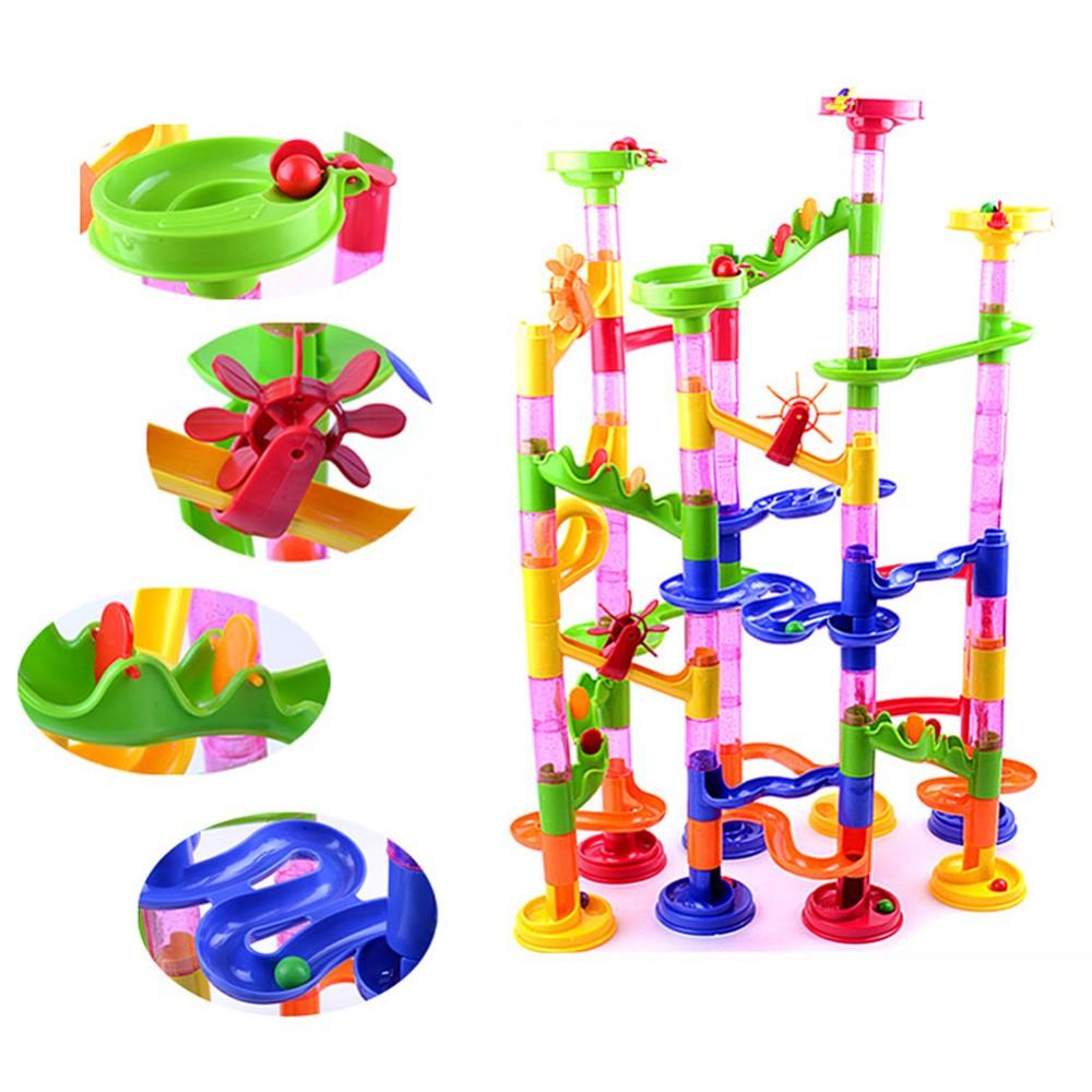 High Quality 105PCS DIY Construction Marble Race Run Maze Balls Track Building Blocks Children Gift Baby Kid's Educational Toys(China (Mainland))