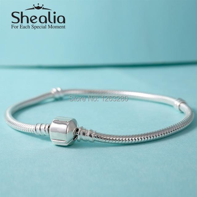 Стерлингового серебра 925 очарование Bracelets для женщин классический стартер змея браслеты подходит европейскими подвески темы бусины DIY дизайн