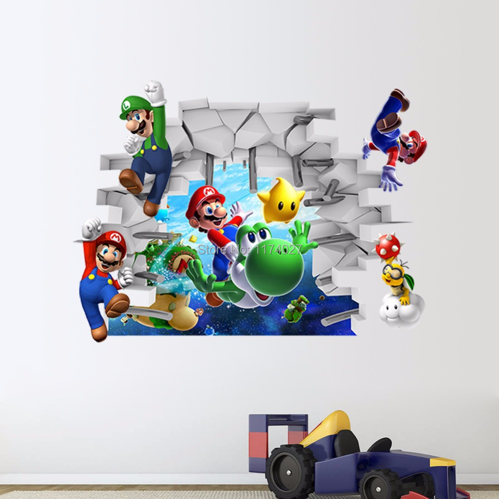 Free shipping New 3D Super Mario Bros Cartoon Vinyl Wall stickers for kids rooms DIY Wallpaper Art Decals Home decor(China (Mainland))