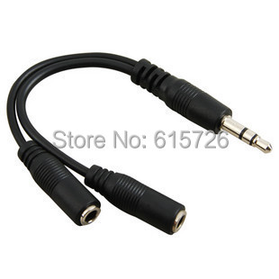 1pcs black 3.5mm 1 in 2 couples audio line Earbud Headset Headphone Earphone Splitter For pad Phone Android Mobile MP3 MP4(China (Mainland))