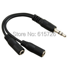 Free shipping black 3.5mm 1 in 2 couples audio line Earbud Headset Headphone Earphone Splitter For Tablet Phone MP3 MP4