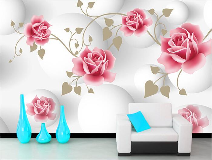 Custom Simple pink rose murals papel de parede,hotel restaurant coffee shop living room sofa TV wall bedroom 3d wallpaper flower(China (Mainland))