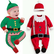 Baby Christmas Clothes Outfits Boy Girl Kids Romper Hat Cap Set Gift for 0-2Y WL(China (Mainland))