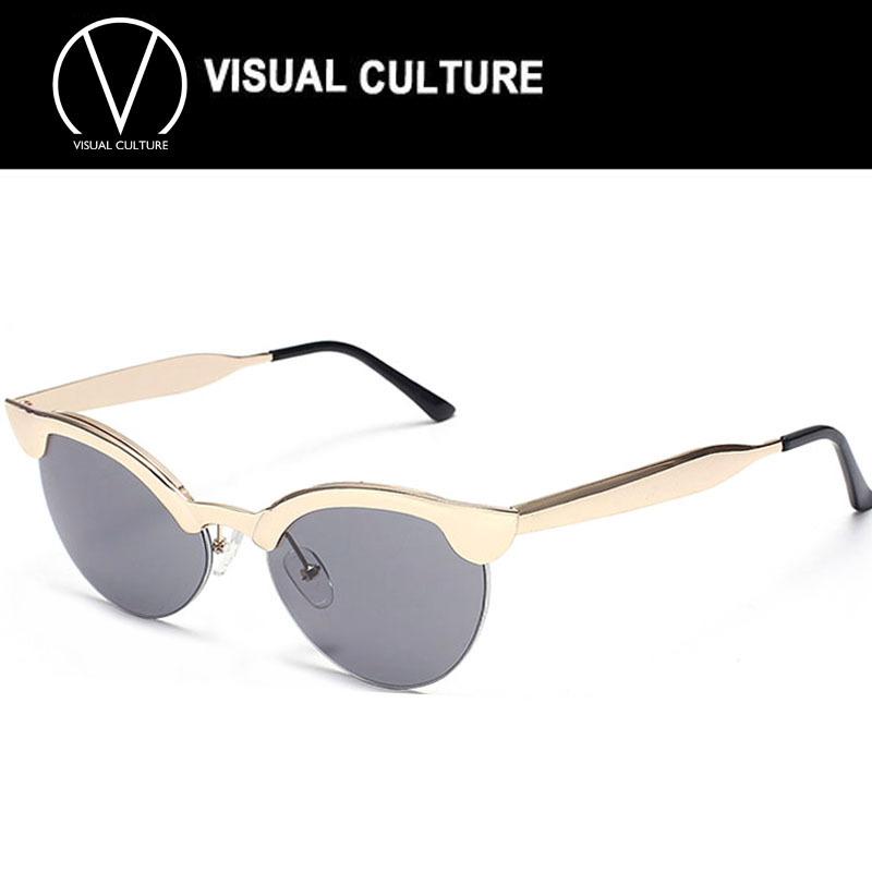 2016 New fashion cat eye sunglasses women Metal half frame ...