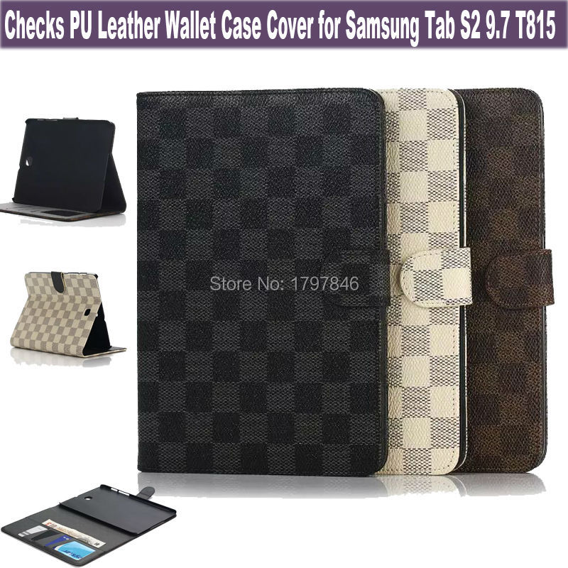 HOT Leather Cover For Samsung Galaxy Tab S2 9.7 T810 Tablet Wallet Case Checks Design Folio Magnetic Stand Skin / ID Holder(China (Mainland))