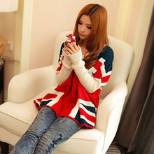 Sweaters 2016 Spring The Union Jack Long Sleeve Solid Colour Plus Size Women Sweater Female Casual Knitted Pullover(China (Mainland))