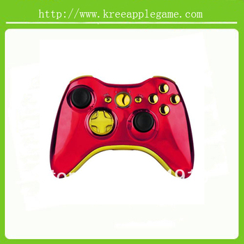Iron Man/Red Replacement Shell with Chrome gold kit For Xbox 360 Wireless Controller