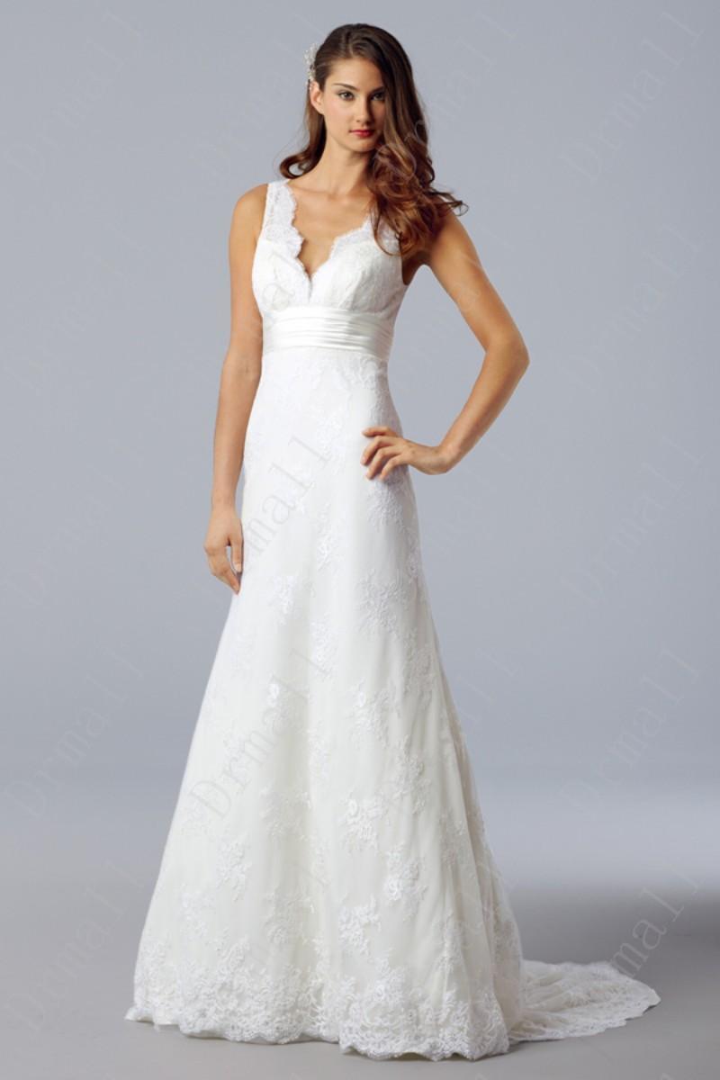 Lace Long Wedding Dresses V-neck Evening Dress Bridesmaid Dress Wedding Gown Dress Custom-made(China (Mainland))