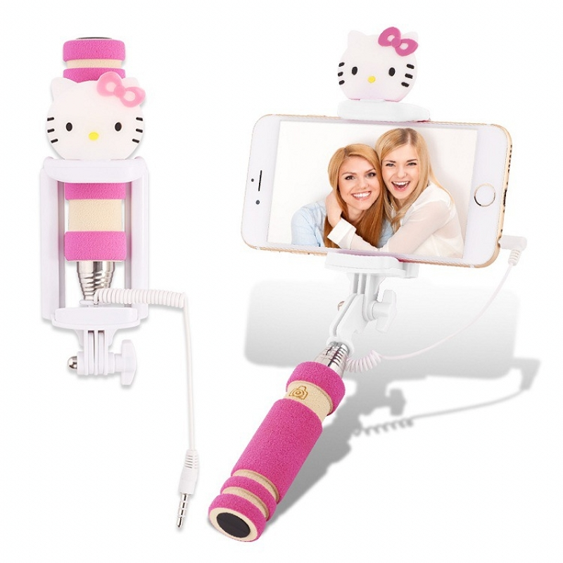 hot selling cartoon hello kitty wired mini selfie stick pau de selfie universal cable foldable. Black Bedroom Furniture Sets. Home Design Ideas