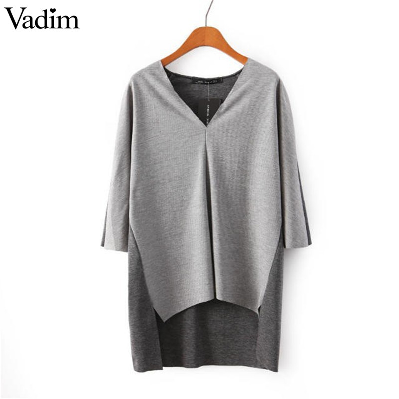 Women gray black v neck Knitted pullover casual three quarter sleeve blouse sweater brand tops(China (Mainland))