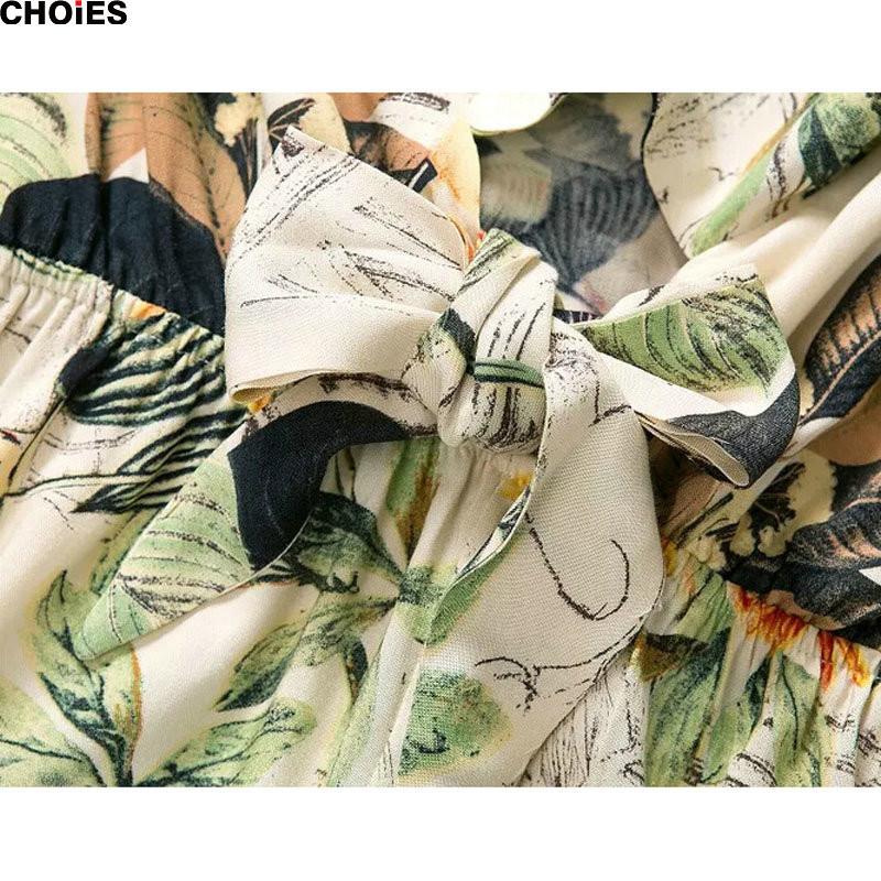 CHOIES 2016 Женщины Бежевый Короткие Cap Рукавом Цветочные Листья Печати Ruffled Летняя Мода Глубокий V Шея Короткая Sexy Playsuit