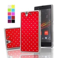 Rhinestone Plastic Rubberized Matte Cover With Silver Edge Star Bling Case For Sony Xperia Z L36H L36I C6603 C6002 Phone Bags