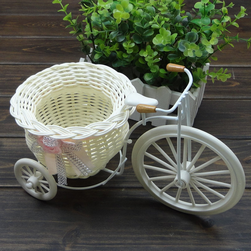 Free shipping Rustic artificial flower basket, small bike home decoration, creative flower vase, wholesale 2pcs/lot(China (Mainland))