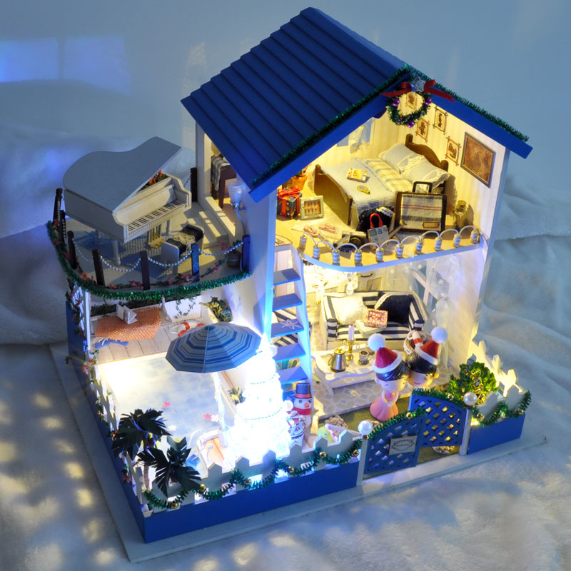 Diy Large Doll House Villa Handmade 3D Miniature Wooden Building Model Dollhouse Furniture Model Toys Of Houses Christmas Gift(China (Mainland))