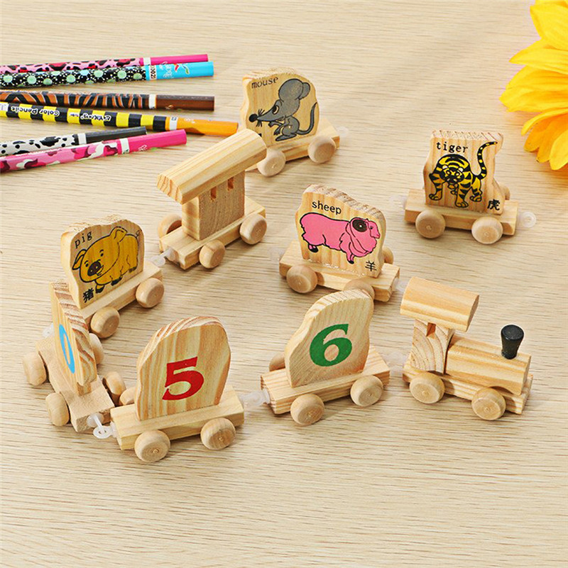 Multifunctional Digital Quantity Animals Wood Prepare Instructional Toys Chinese language Zodiac Assembles Toy Prepare