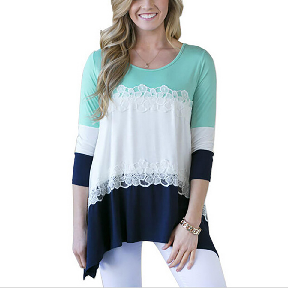 fashion patchwork women blouses knitted cotton shirts