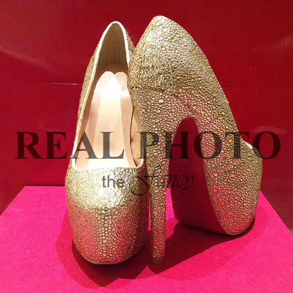 Aliexpress.com : Buy REAL PHOTO Rhinestone Crystal Gold High Heels ...