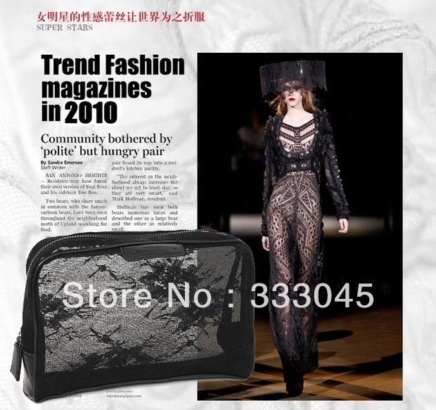 FREE shipping women fashion black lace brand cosmetic case vintage makeup organizer bag elegant clutch bag retro purse tote