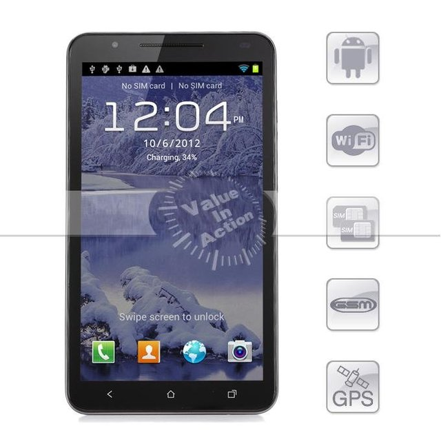 In Stock 6 inch Star N9776 Ultrathin Note3 MTK6577 Dual Core 512MB 4GB Android 4.0 GPS Bluetooth HD FWVGA Screen 3G Smartphone