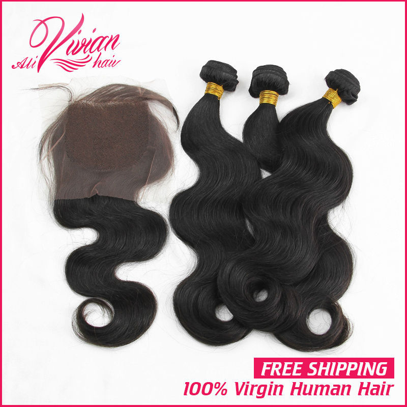 Brazilian Virgin Hair with Closure Unprocessed Human Hair 3 Bundles Hair with Closure Grade 7A Brazilian Body Wave with Closure(China (Mainland))