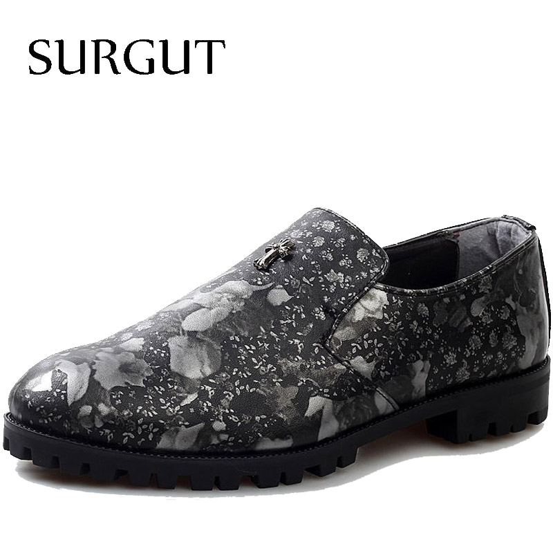 Spring New Korean Version Popular Tide Leather Shoes Men British Flower Print Boat Men's Casual - SURGUT Footwear Store store