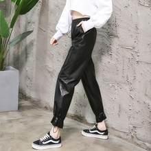 M-XL Kadın manşet Hakiki deri pantolon Koyun Derisi kalem pantolon Kadın yüksek bel siyah renk oldu ince pantolon wq1377 dropship(China)