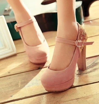 Fashion Round Toe Platform Square Heel Ankle Strap Mary Jane Pumps Women Luxury Glitter Patchwork High Heels Shoes - Express. store