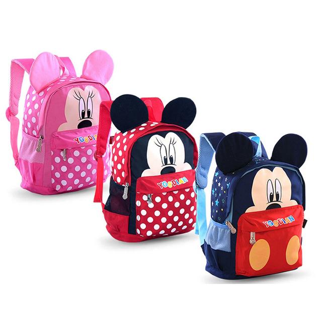Детская школа сумка мультфильм микки маус холст рюкзак дети детский сад школьный