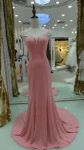 2015 pink evening dress trailing evening dress Female evening dress performance evening gown tarik ediz vestidos de noche(China (Mainland))