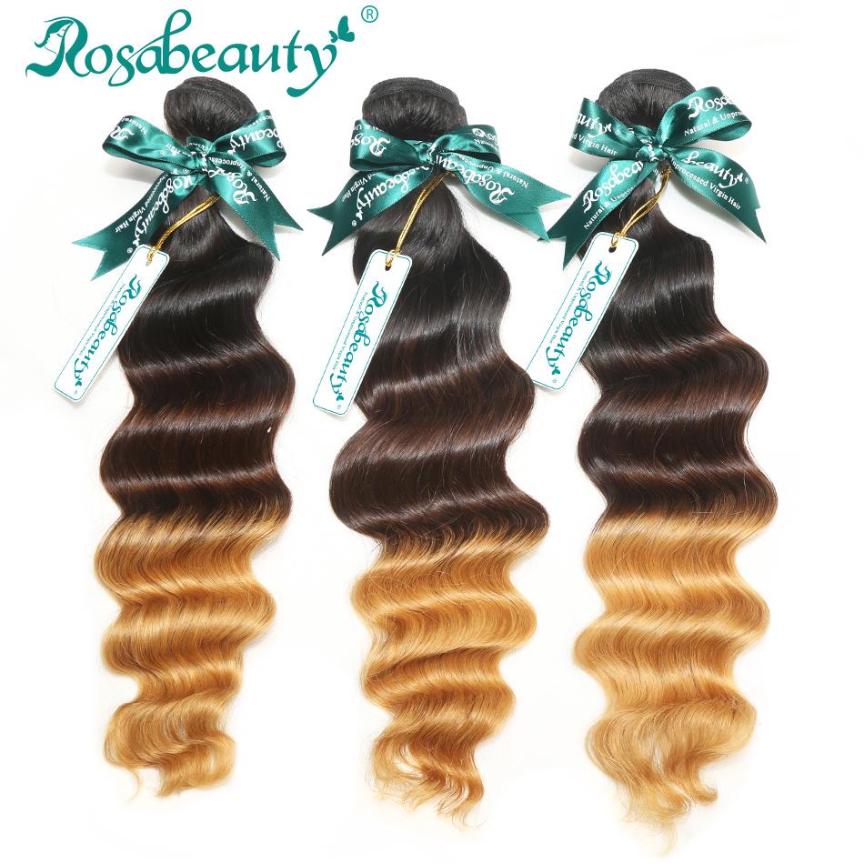 3 Bundles Loose Wave Brazilian Virgin Human Hair Weaves Wavy Grade 6A Ombre Hair Extensions Shipping Free(China (Mainland))