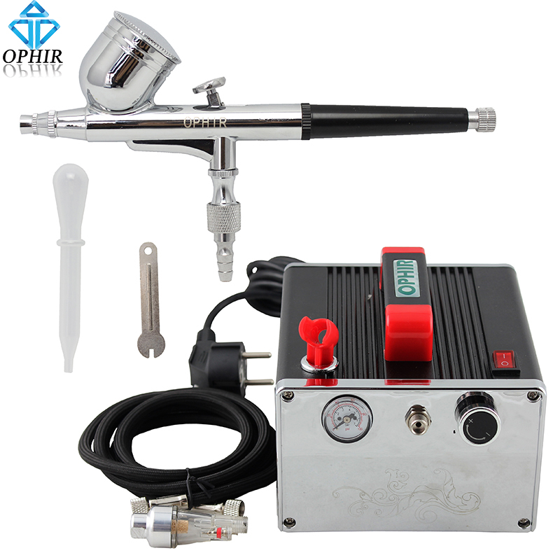 OPHIR Pro Airbrush Compressor Set Gravity Dual Action Airbrush Kit with Mini Air Compressor Cake Decoration Makeup _AC091+AC004(China (Mainland))