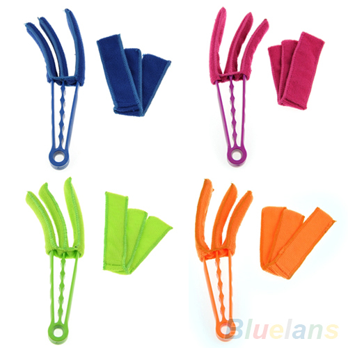 Microfiber Venetian Blinds Duster Slat Cleaner Triple Dust Clean Clip Brushes 1WKH(China (Mainland))