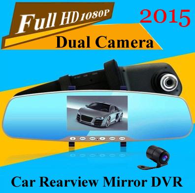 2015 super night vision dual lens car dvr camera recorder rear view mirror Full HD 1080P Reversing parking cam video camcorder(China (Mainland))
