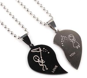 New Fashion Jewelry Stainless Steel Love Heart Shaped Couple Lovers Pendant Necklace Women For Sale(China (Mainland))