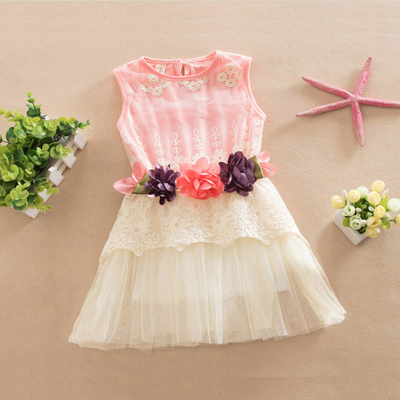 hot sale!Girls pink lace dress baby TUTU dress 2-7y Princess Pageant Party Flower girls Dress toddler girls summer clothing(China (Mainland))